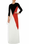 White Colourblock Crepe Gown (On Sale)