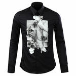 White Gray Photo Print Dress Shirt