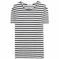 White Linen Stripe Tee