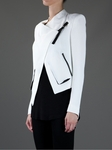 White silk blend biker jacket