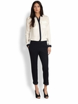 Burberry London White Silk Contrast Detail Blouse