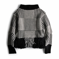 WOOL HOUNDSTOOTH PATTERN PULLOVER