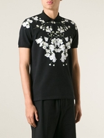 Wreath print polo shirt