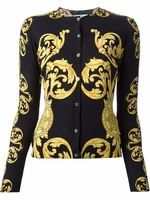 Yellow Cardigan Con Bottoni Stampa Cage Baroque