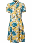 Yellow 'Jerrie Rose' Crepe Tea Dress