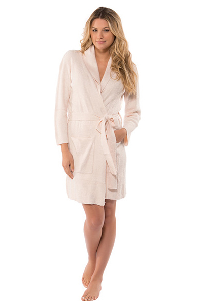 Barefoot Dreams Chic Lite Short Ribbed Pink Robe
