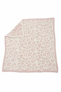 Barefoot Dreams In The Wild Leopard Dusty Rose/Cream Baby Blanket