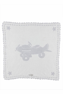 Barefoot Dreams Scalloped Airplane Blue Receiving Blanket