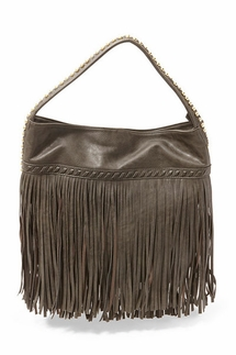 Big Buddha Giada Charcoal Fringe Hobo Bag