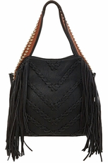 Big Buddha Graya Black Fringe Hobo Bag