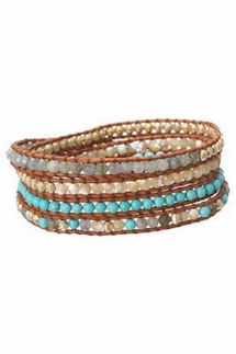 Chan Luu Turquoise Mix Wrap Bracelet on Brown Leather