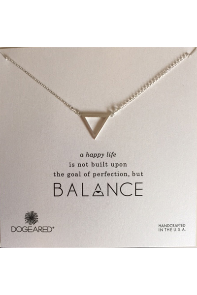 Dogeared Balance Large Open Triangle Silver Necklace