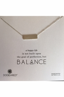 Dogeared Balance Wide Bar Silver Necklace