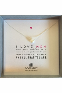 Dogeared I Love Mom Sterling Silver Large Pearl White Necklace
