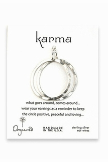 Dogeared Karma Small Silver Textured Hoop Earrings