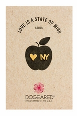 Dogeared NY and Heart Gold Stud Earrings