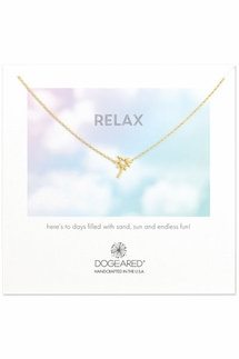 Dogeared RELAX Palm Tree Gold Necklace