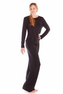 PJ Luxe by PJ Salvage Black Top and Pant Lounge Outfit