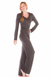 PJ Salvage Charcoal Long Sleeve Top and Pant Loungwear Set