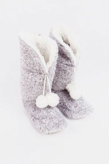PJ Salvage Cozy Gray Slipper Boots