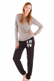 PJ Salvage Grey Long Sleeve and Love Black Lounge Pant