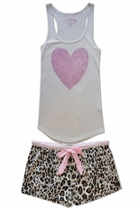 PJ Salvage Heart Tank and Leopard Short Pajama Set