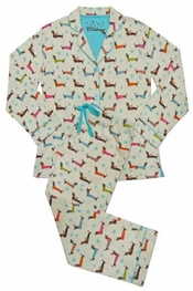 PJ Salvage Holiday Dogs Flannel Pajama Set