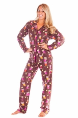 PJ Salvage Hootie Owls Flannel Pajama Set