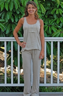 PJ Salvage Laid Back Khaki Tank and Pant Set