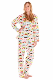 PJ Salvage Mustache Flannel Pajama Set