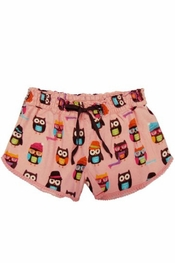 PJ Salvage Owl Friends Flannel Short
