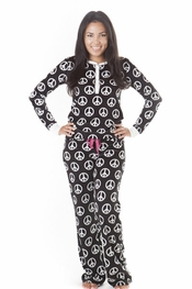 PJ Salvage Peace Black Vintage Velour Pajama Set