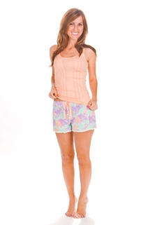 PJ Salvage Peach Tank and Flower Short Pajama Set