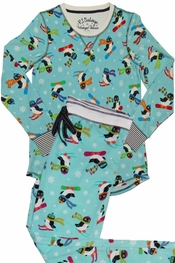 PJ Salvage Penguin Pivot Vintage Velour Pajama Set