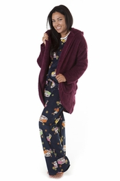 PJ Salvage Plum Cozy Cardigan