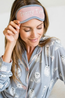 PJ Salvage Purrty Tired Cat Pajama Set & Eye Mask