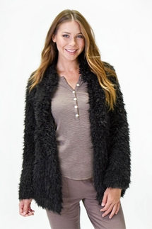 PJ Salvage Shag Black Cardigan