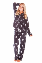 PJ Salvage Skulls Polar Fleece Pajama Set