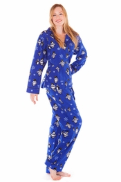 PJ Salvage Winter Cool Penguin Flannel Pajama Set