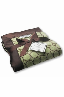 Swaddle Designs Stroller Blanket, Fuzzy Lime with Brown Mod Circles
