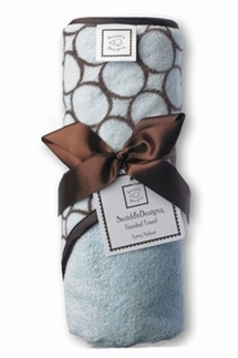 Swaddle Hooded Towel, Pastel Blue with Brown Mod Circles