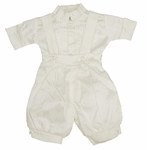 A Boys Silk Christening Romper Fancy Suit Set 12-18 months