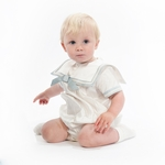Boys Christening Outfit Fine Silk Romper Royal Prince