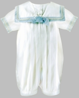Boys Christening Outfit Fine Silk Romper Royal Prince Newborn 0-3 months