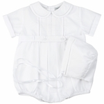 Baby Boy Christening Bubble Romper and Hat Set
