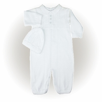 Baby Boy's Cotton Fine Knit Longall and Hat Set