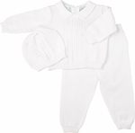 Baby Boy's 100% Fine White Knit Cotton 3-piece Set