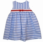 Baby Girls Sleeveless Lt. Blue Striped Dress 3 months