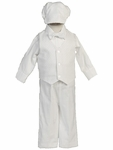 Boy's Baptism Suit Cotton Pant Set with Hat