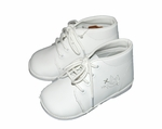 Boys Christening Shoes White Leather Embroidered Details